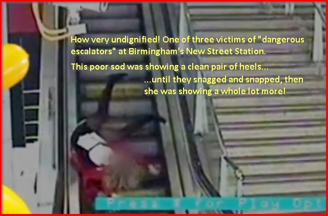 woman falling backwards down escalator